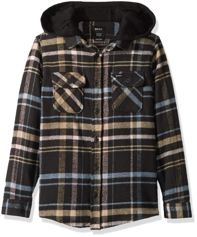 RVCA Boys' Big Essex Long Sleeve Hooded Plaid Woven Shirt, Black, L