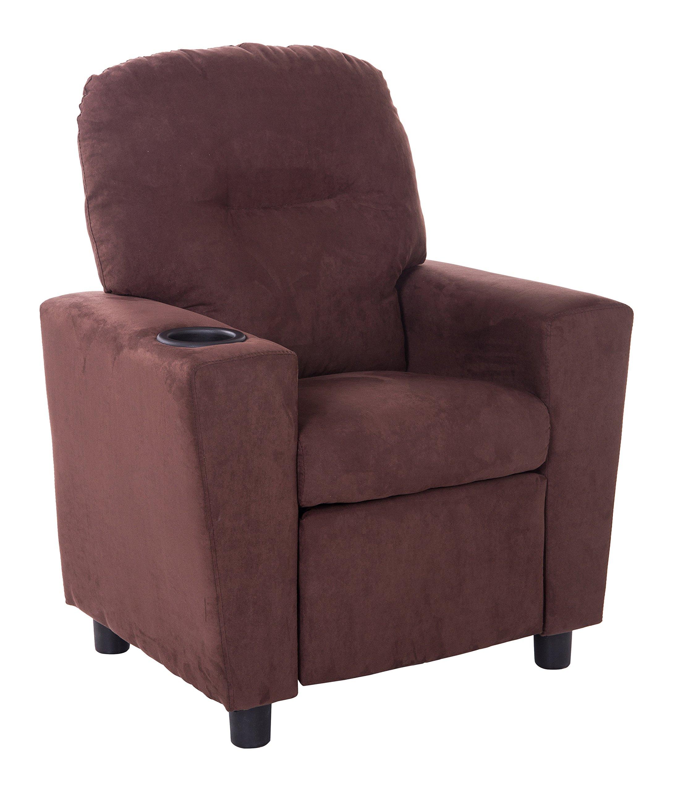 Mochi Furniture KR2002BRN Microfiber Kids Recliner with Cup Holder, Brown