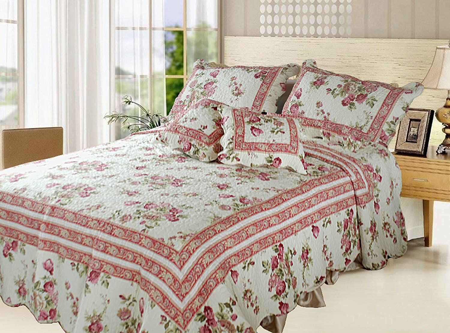 Amazon.com: DaDa Bedding DXJ103136 French Country Cotton 5 Piece Quilt Set,  Queen, Floral: Home U0026 Kitchen