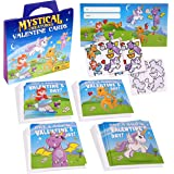 Valentine's Day Cards For Kids | Mythical Creatures 28 Valentines Cards With Stickers - Unicorn, Dragon, Fairy Theme! Fun Toddler Classroom Valentine Cards