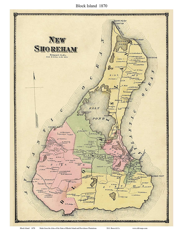 Map Of Block Island Amazon.com: Block Island 1870 Old Map   Homeowners names   D.G.
