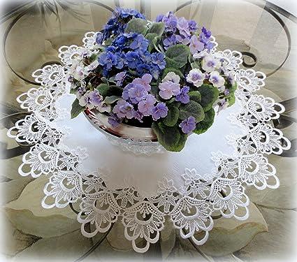 Amazon 25 lace white flower doily table topper round dresser 25quot lace white flower doily table topper round dresser scarf european mightylinksfo