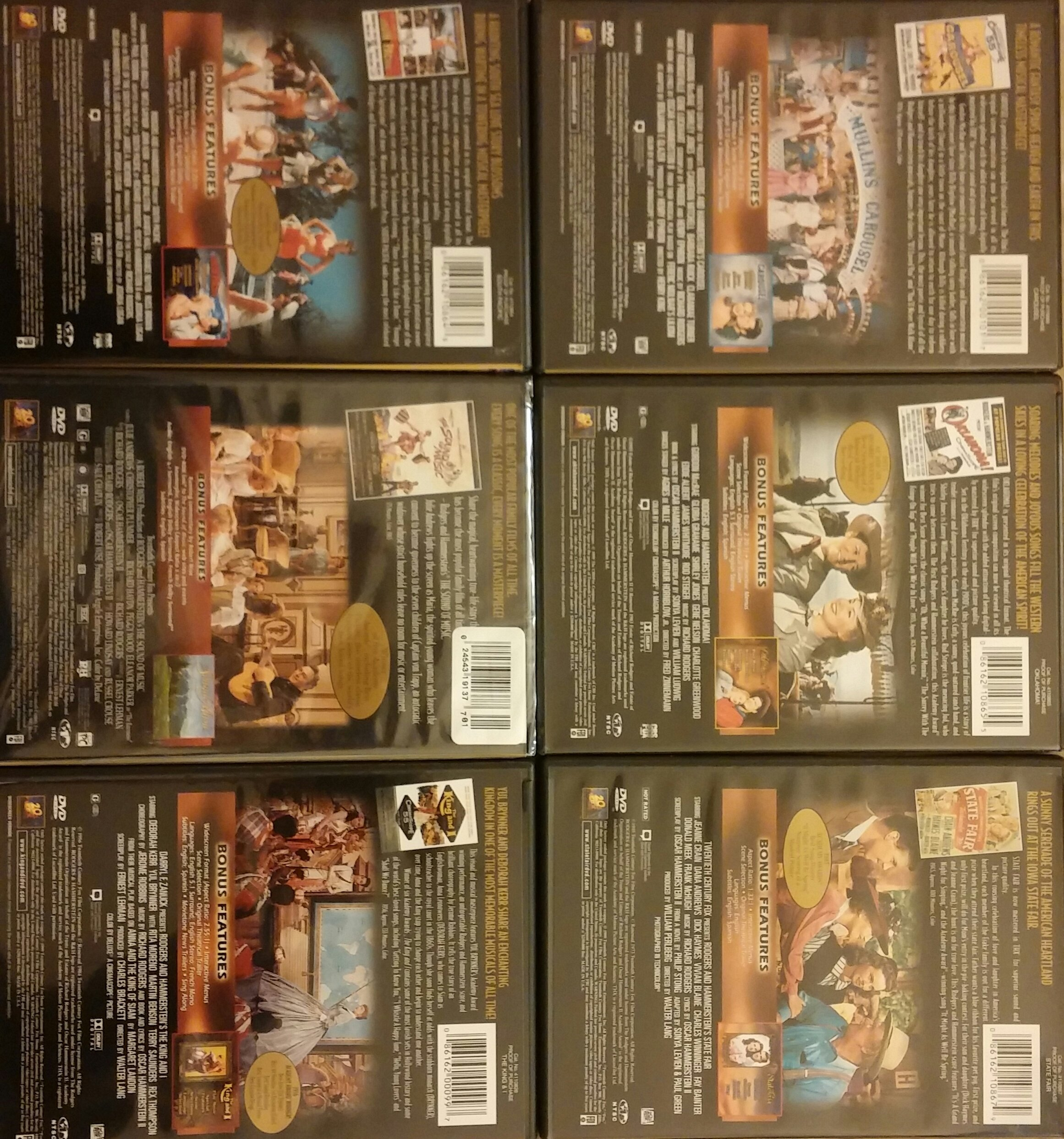 Set of 6 DVD's Rodgers And Hammerstein's Six Greatest Shows Collection