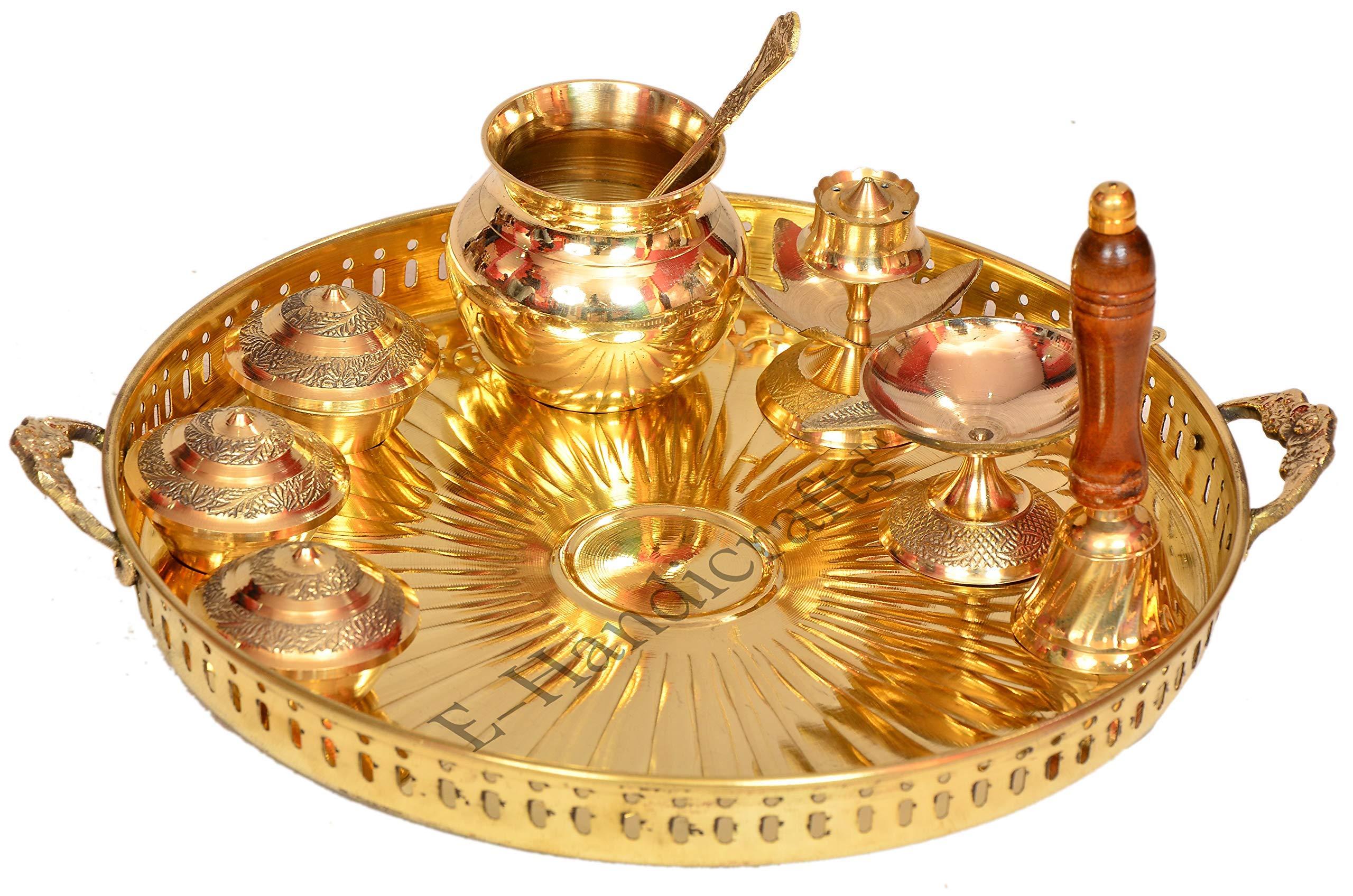 E-Handicrafts Pure Brass Pooja thali Set by E-Handicrafts