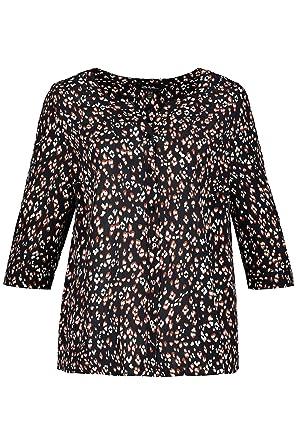d48c1452210f7 Ulla Popken Women s Plus Size Animal Print Crepe Blouse 717651 at Amazon  Women s Clothing store