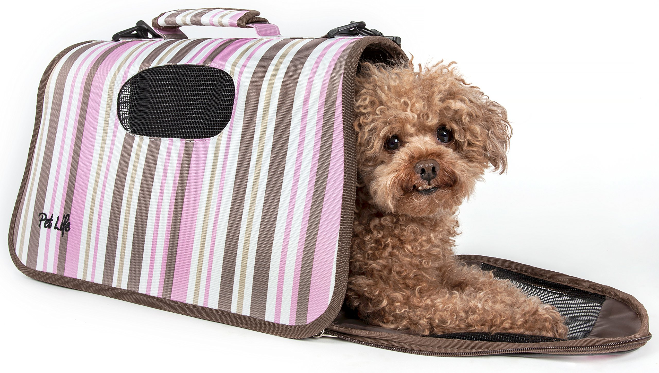 PET LIFE 'Sporty-Caged' Airline Approved Folding Collapsible Fashion Pet Dog Carrier, Medium, Stripe Pattern