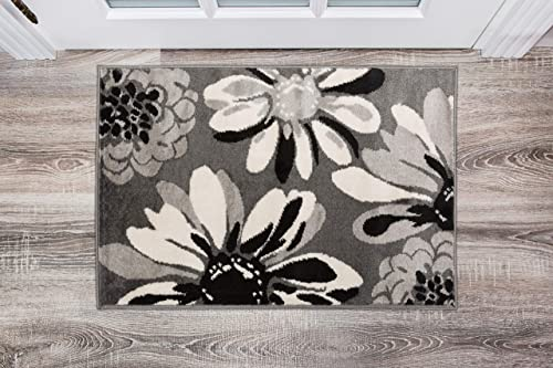 Rugshop Modern Flowers Area Rug 2 x 3 Gray
