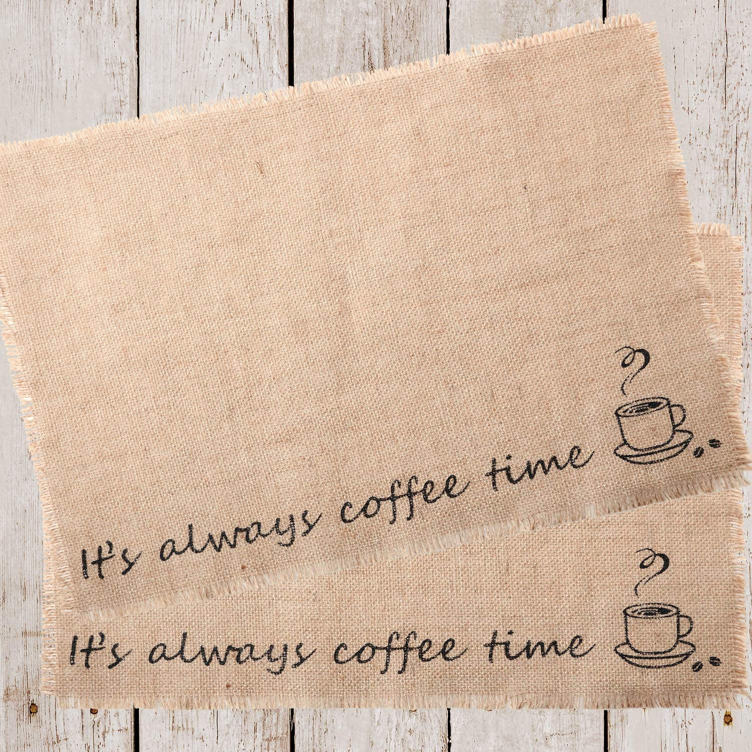 Tatuo 2 Pieces Coffee Placemat Burlap Placemat Coffee Bar Decor, 14 x 20 Inch