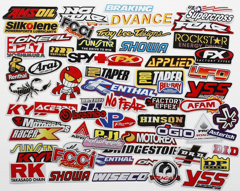 66pcs Mega Pack Car Decal Racing Decal Sticker for Cars Bumper Window Sponsor Motocross Racing Tuning Motorbike Bundle Dirt Bike Full Color