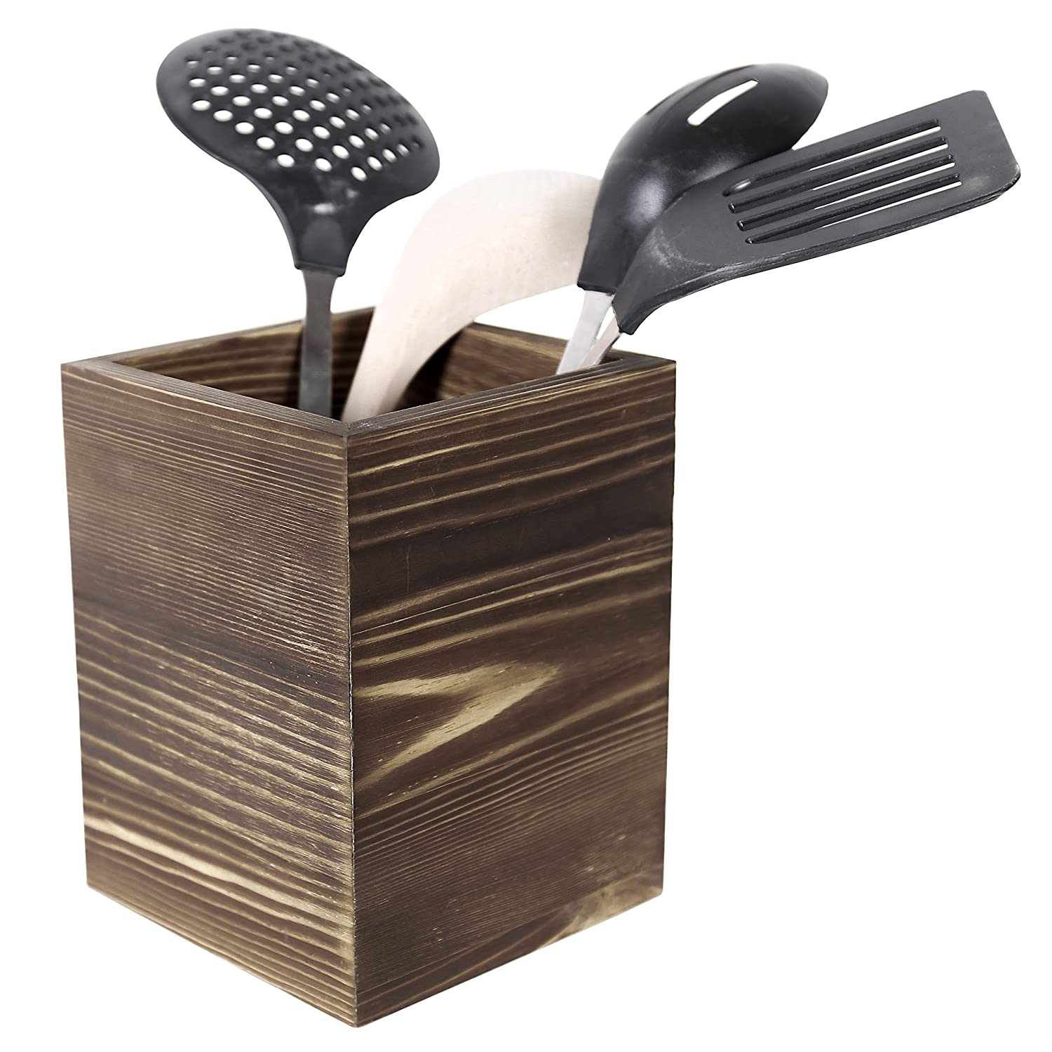 Rustic Torched Wood Kitchen Utensil Holder, Counter Top Cooking Tools Cup, Brown MyGift SPOMHNK3342