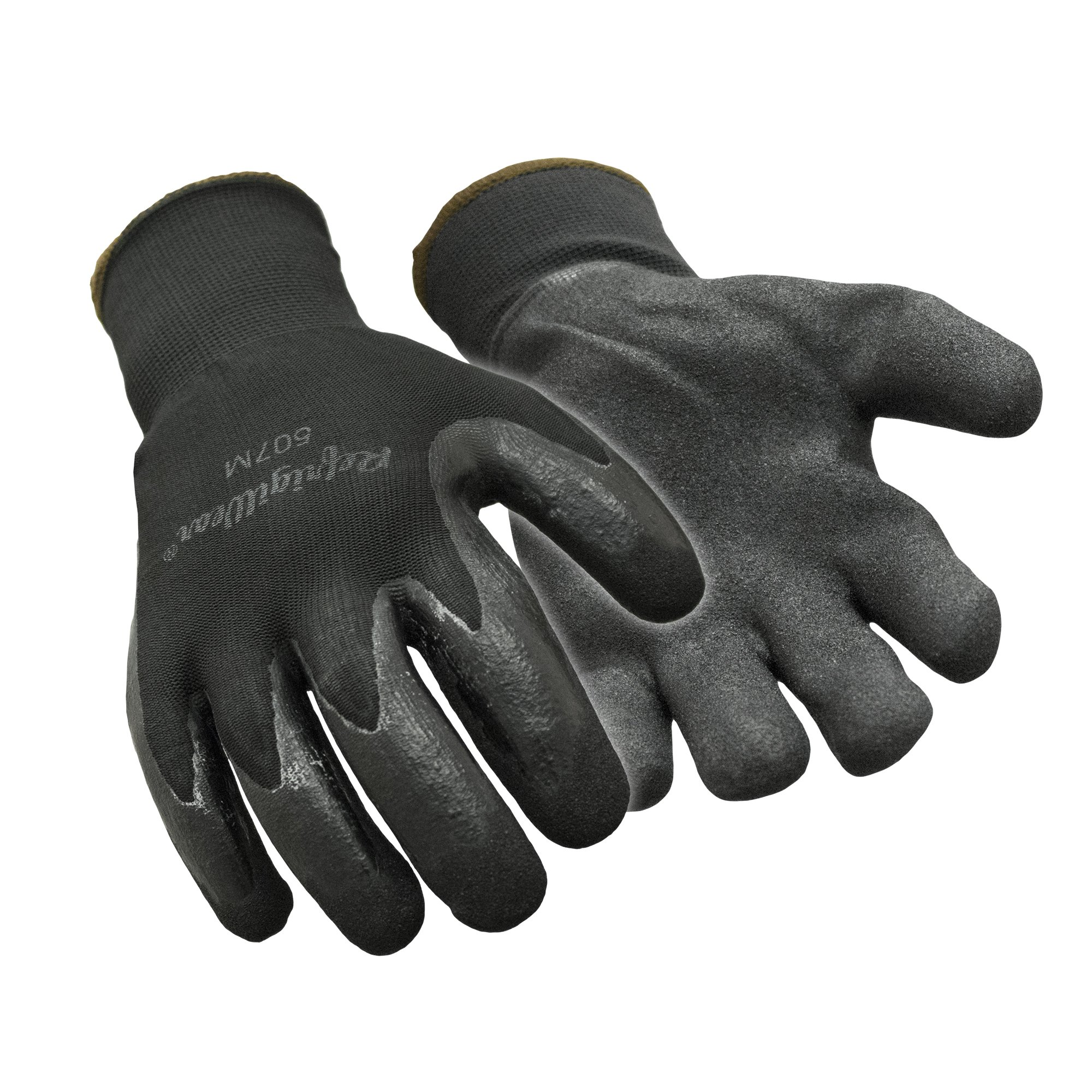 RefrigiWear Warm Dual Layer Thermal Ergo Grip Work Gloves with Textured Rubber Nitrile Coated Palm (Black, Medium)