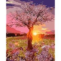 Tianmai New Paint by number Kits–Sunrise View Fairy Tree 40,6x 50,8cm in lino Paintworks–digitale pittura ad olio tela Kits per adulti e bambini bambini decorazioni regali