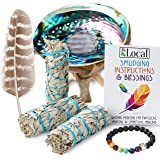JL Local 3 White Sage Smudge Gift Kit - Abalone Shell, Feather, Stand, Instructions & More - Smudging, Cleansing…