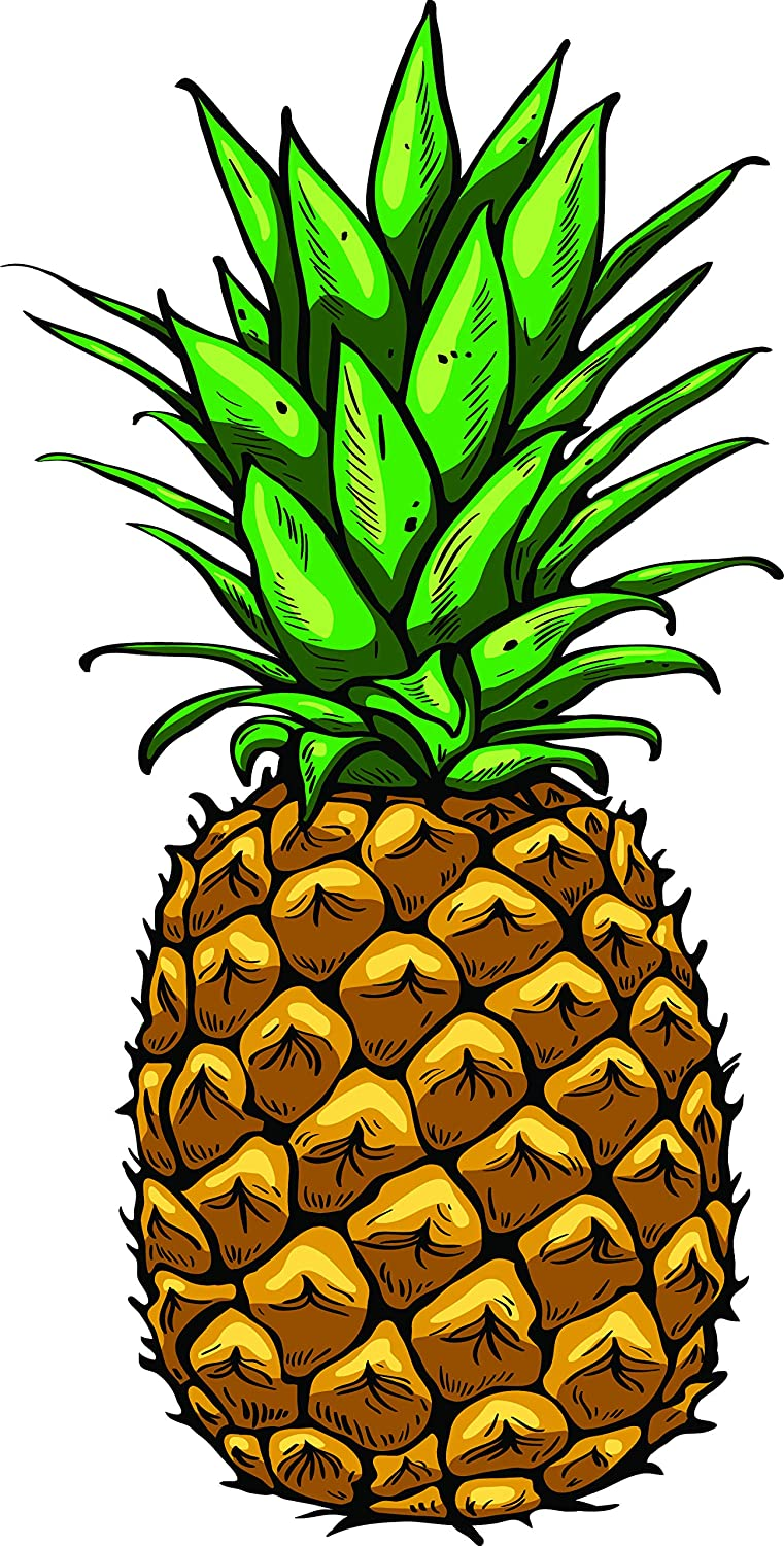 Amazon Com Cute Pretty Tropical Pineapple Cartoon Art Vinyl Sticker 8 Tall Simple Automotive Funny cartoon pineapple character surfing for summer background. cute pretty tropical pineapple cartoon