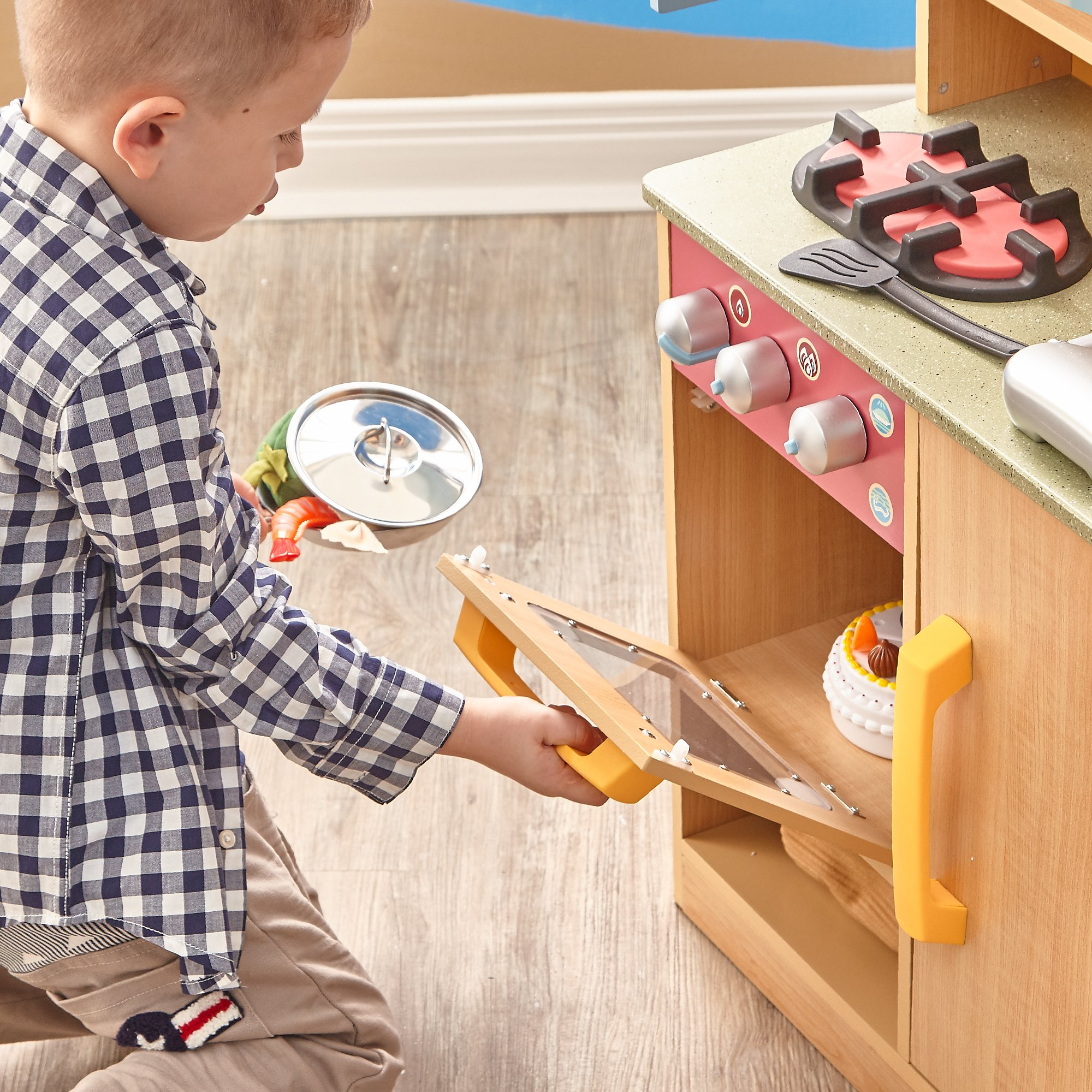 Teamson Kids - Little Chef Florence Classic Kids Play Kitchen | Toddler Pretend Play Set with Accessories - Wood Grain by Teamson Kids (Image #3)