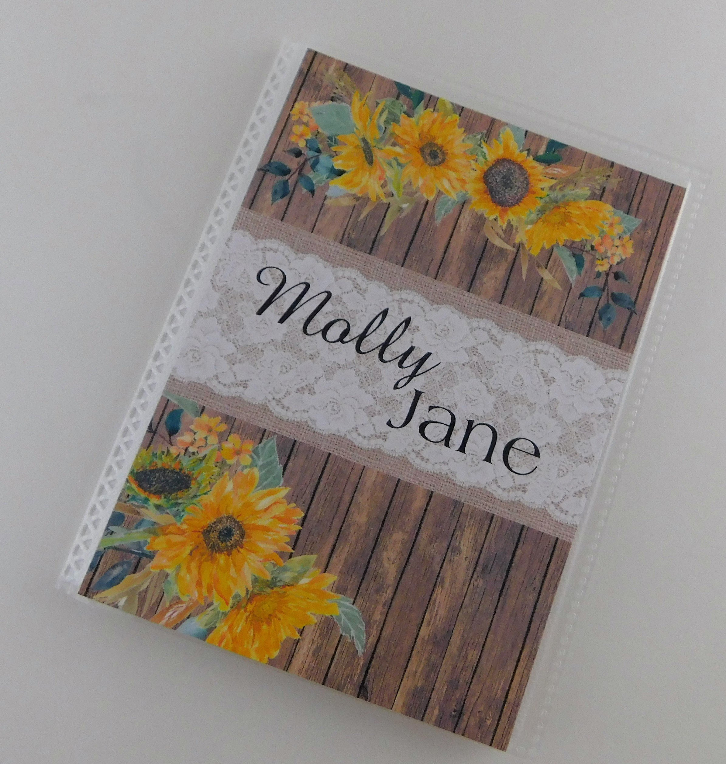 Photo Album IA#920 Baby Girl Engagement Anniversary Wedding Bridal Shower Gift 4x6 or 5x7 Picture NOT REAL PRINTED Wood Sunflower Lace Burlap