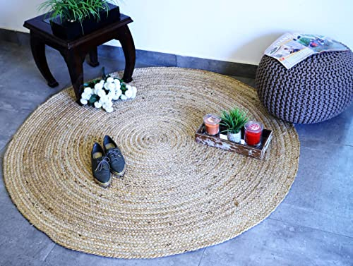 Fernish D cor Handwoven Jute Area Rug, Natural Yarn, Rustic Vintage Braided Reversible Rug, Eco Friendly 4 Feet, Round