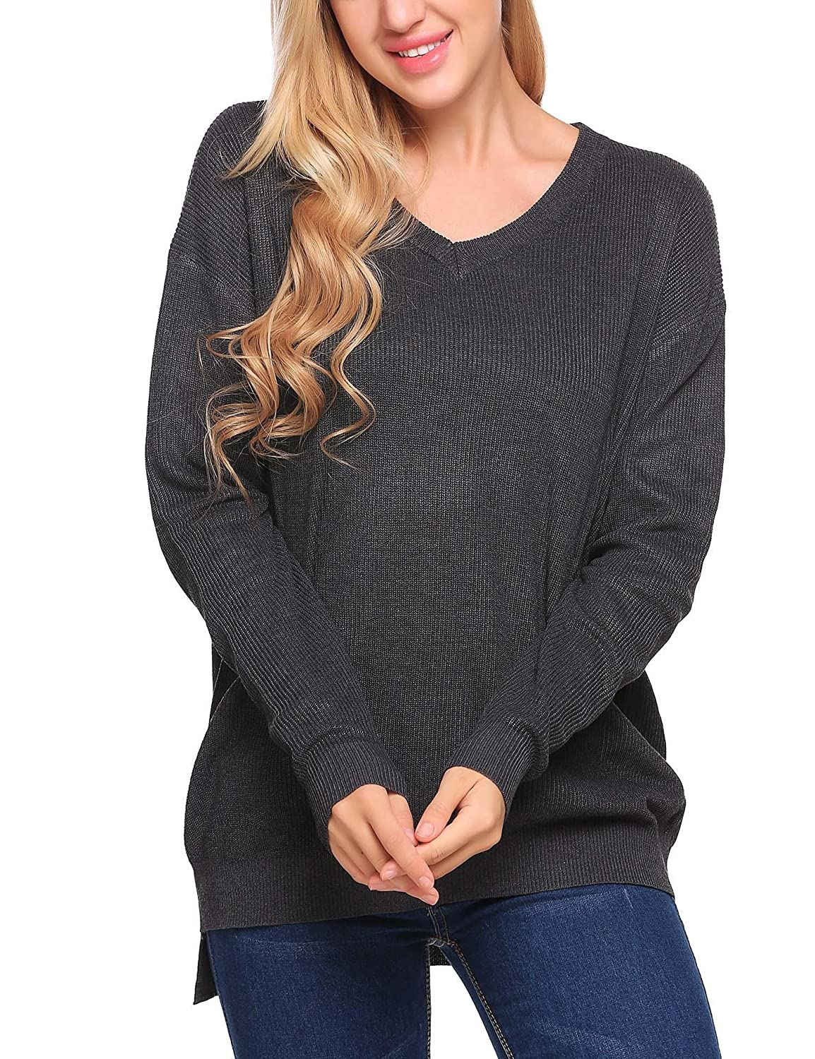 Meaneor Women Autumn V Neck Hi-Low Long Sleeve Oversized Pullover Sweater Top #MAH020834