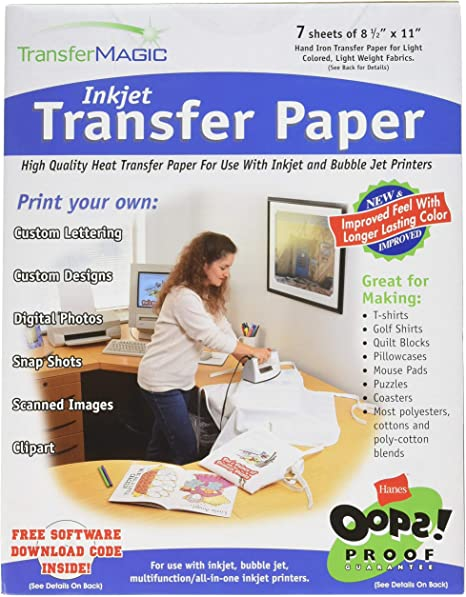 Amazon.com: Transfer Magic Ink Jet Transfer Paper-8-1/2 X11 ...