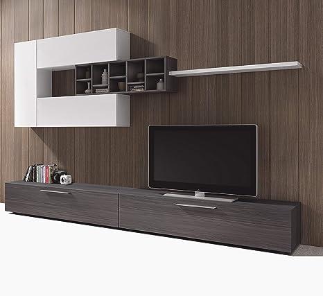 Porta Tv Parete.Esidra Mobile Soggiorno Parete Attrezzata Porta Tv Rovere 260 X 32 X 42 Cm