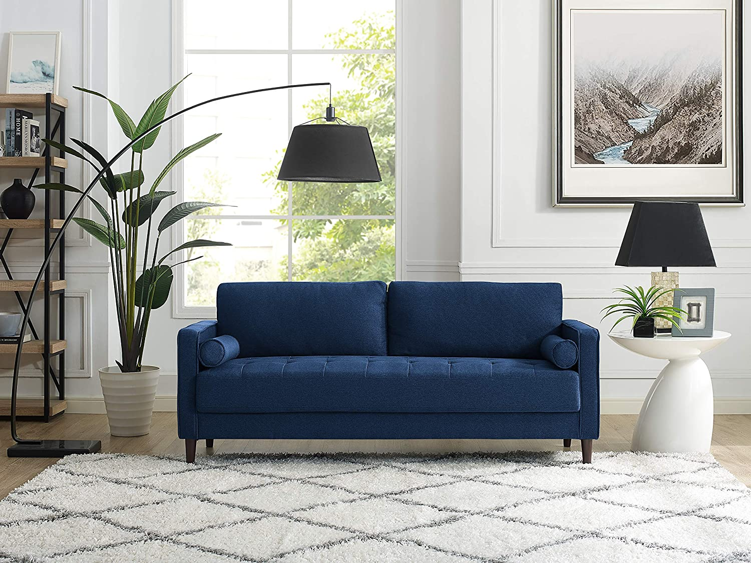 LifeStyle Solutions LK-LGFSP3GU3051 Lexington Sofa in Navy Blue,