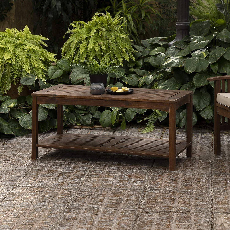 Walker Edison Furniture Company AZWCTDB Outdoor Patio Wood Rectangle Coffee Table All Weather Backyard Conversation Garden Poolside Balcony, Dark Brown : Garden & Outdoor
