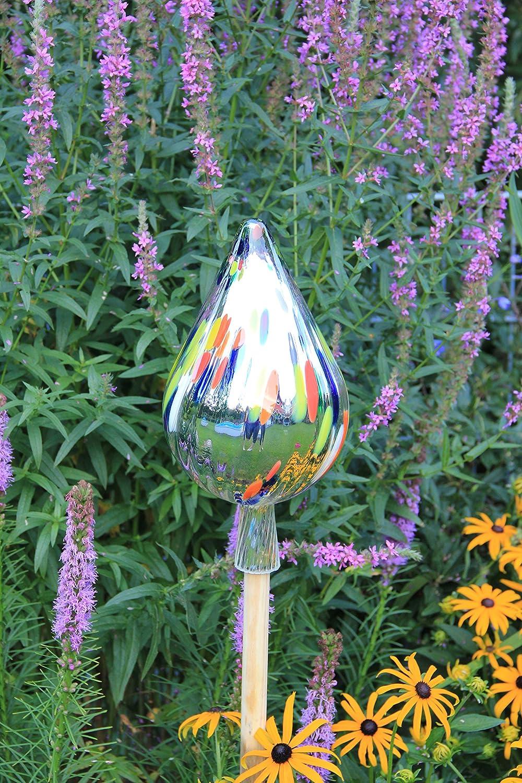 Gartenkugel RT8 Rosenkugel Gartenkugeln gr/ün Glas 33 cm gro/ß Rosenstab Gartenstecker