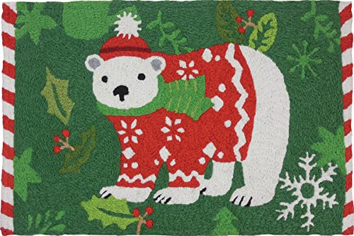 Jellybean Holiday Polar Bear Holiday D cor Indoor Outdoor Washable 21 x 33 Accent Rug