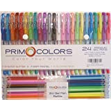 Gel Pens / 24 Assorted Coloring Pens/ Glitzy Glitter, Soft Pastel, and Glowing Neon/ 24 Gel Marker Refills Included