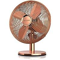 Brandson - Tischventilator im Kupfer Design | 3 Geschwindigkeitsstufen | Zuschaltbare 80° Oszillation | Neigungswinkel ca. 40° | robustes Voll-Metallgehäuse
