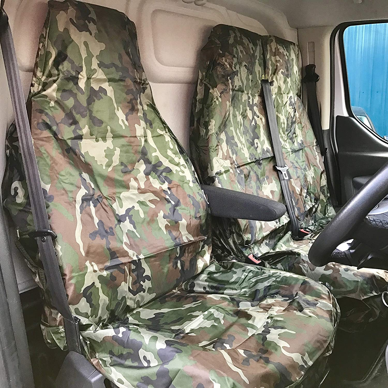 Shield Autocare /© 2+1HDSC-CAMGREEN Heavy Duty Waterproof Green Camo Camouflage Van Seat Covers/_CE152