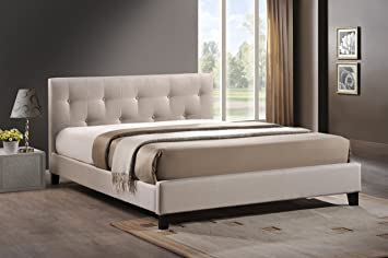 baxton studio annette linen modern bed with upholstered headboard light beige queen