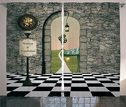 Ambesonne Nursery Curtains Alice In Wonderland Decorations, Welcome Black  And White Floor Tree Landscape Mushroom