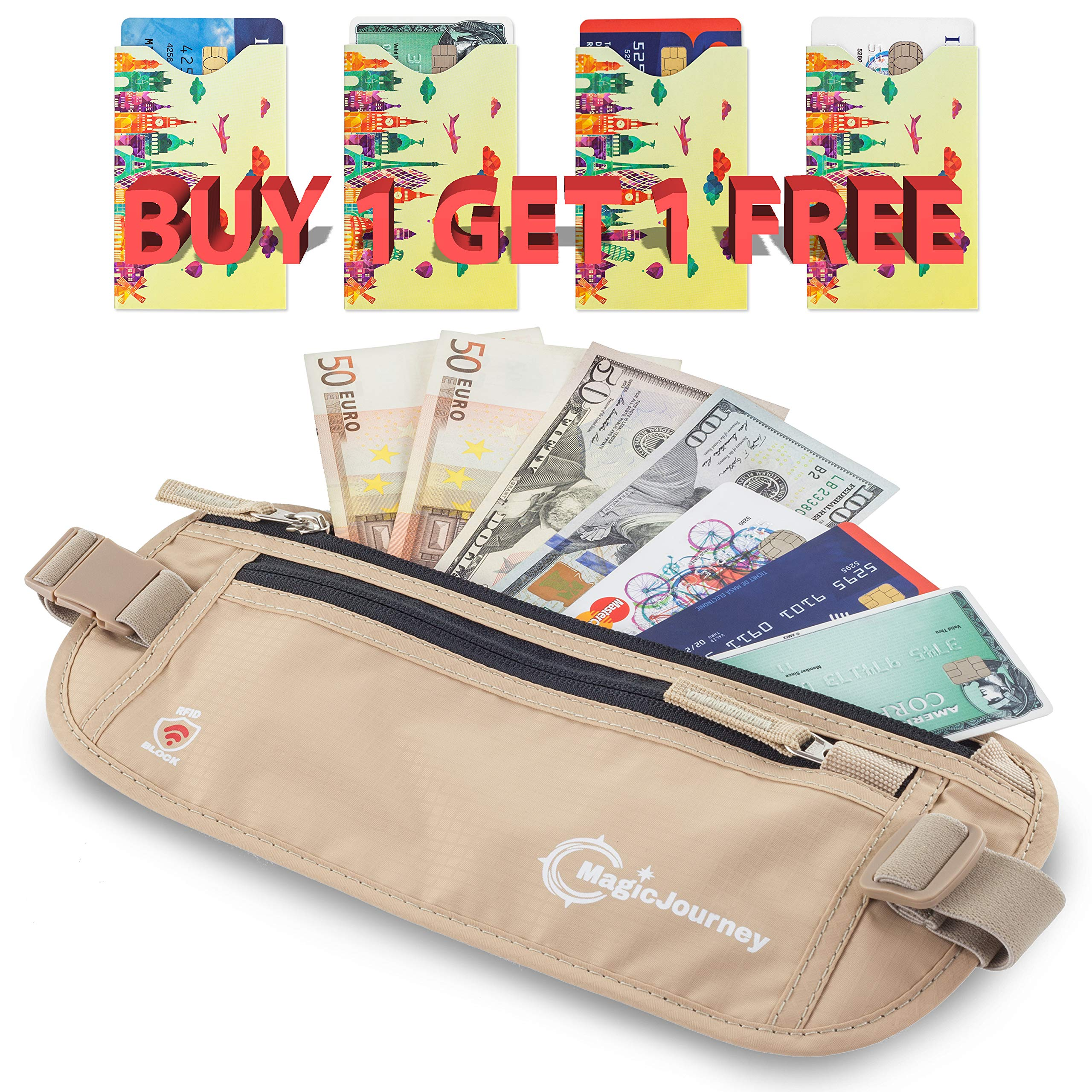 MagicJourney Travel Money Belt with 4 RFID Protection Card Sleeves – Money Belts for Travel Women