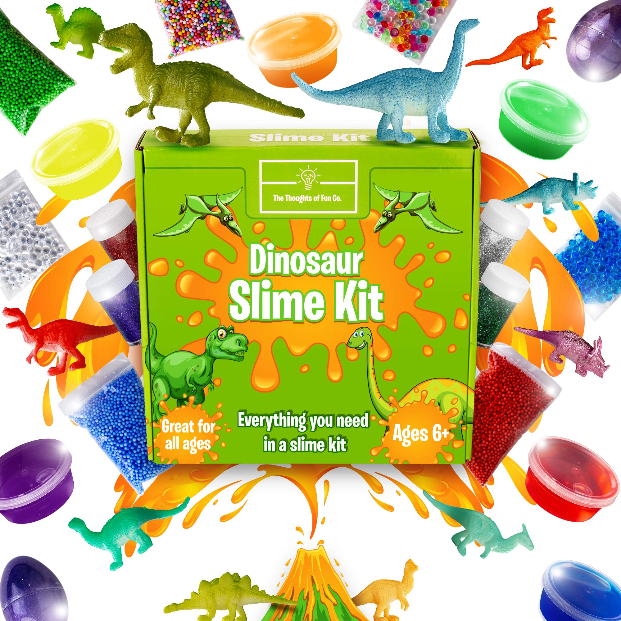 Stretchiest Dinosaur Slime Kit - Slime Kit for Boys, Easy-to-Clean Fun Slime for Kids! 12 Colors & Dino Pieces - Everything in ONE for Ultimate, Premade, DIY, Foamy, Stretchy Slime! 38pc
