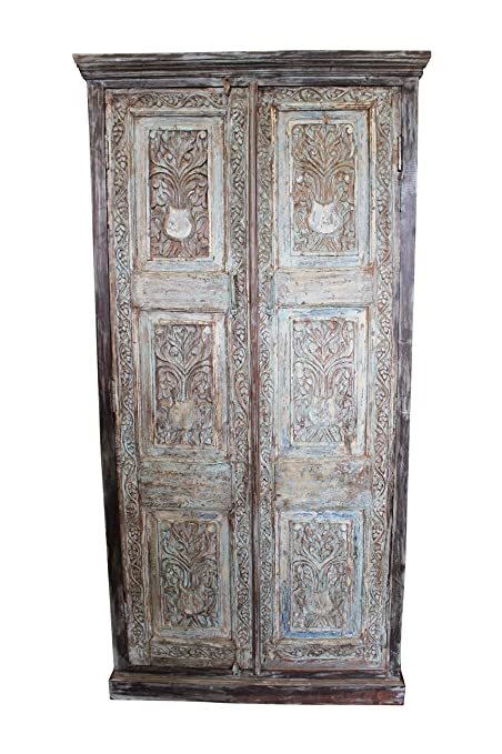 Amazon Com Mogul Interior Antique Indian Hand Carved Armoire Rustic