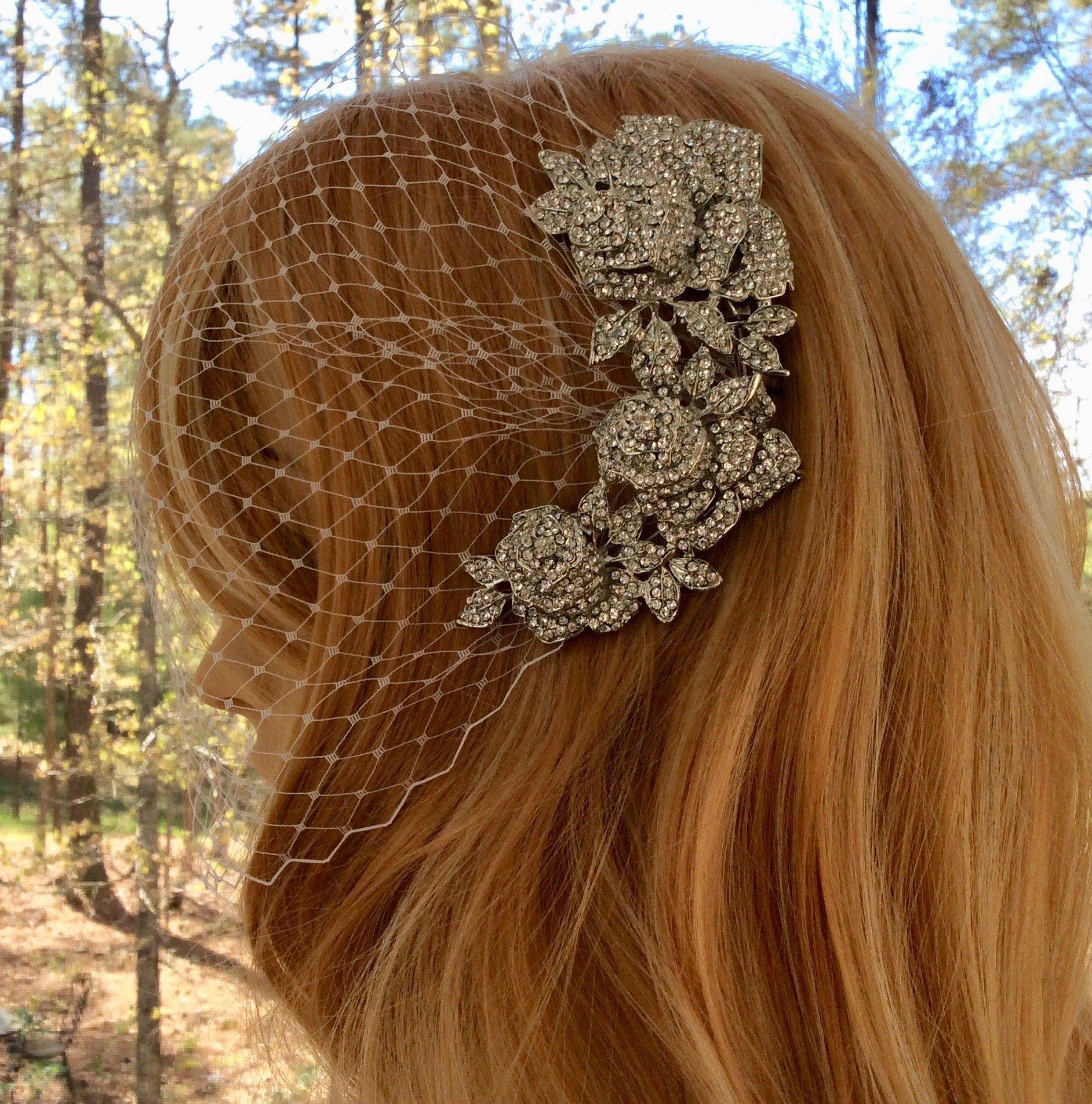 Bridal Wedding Veil, Bridal Rhinestone Veil, Wedding Rhinestone Veil, Tulle Bridal Veil, Tulle Wedding Veil, Art Deco Veil, Deco Bridal Veil, Deco Wedding Veil, Wedding Gown Veil