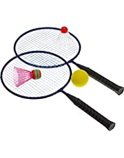 Carlton Badminton Set 2 Rackets 3 Hi Viz Shuttlecocks Carry Bag Net Poles