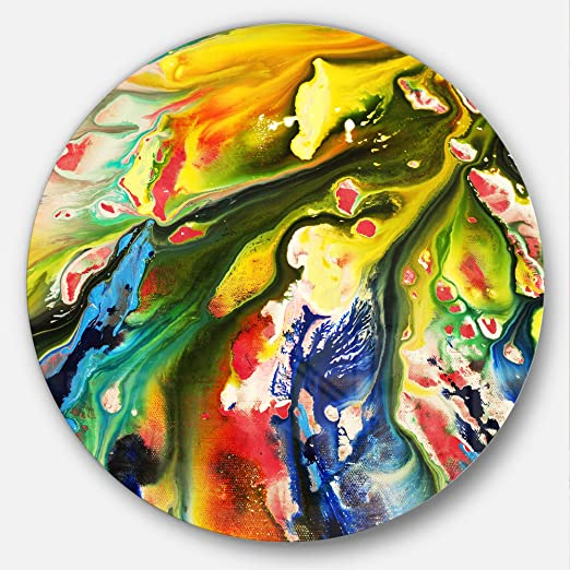 Designart Multi-Color Acrylic Paint Mix-Abstract Round Wall Art Disc of 23 23 H x 23 W x 1 D 1P