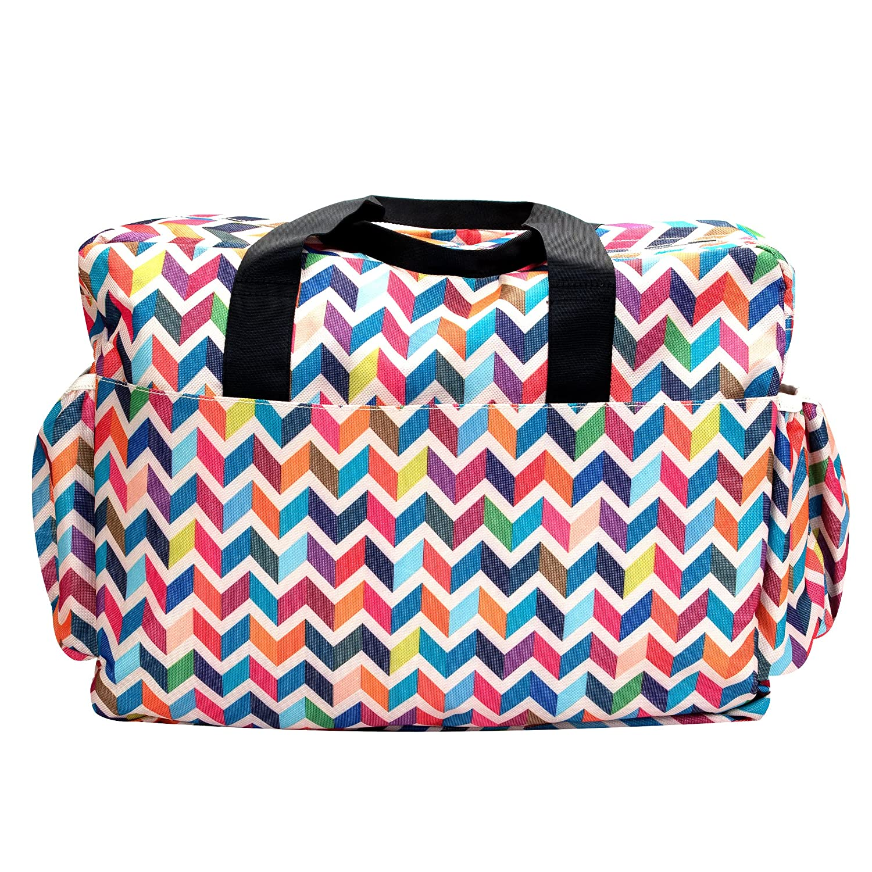 French Bull Ziggy Multi Colored Chevron Deluxe Duffle Diaper Bag Satchel Black Baby