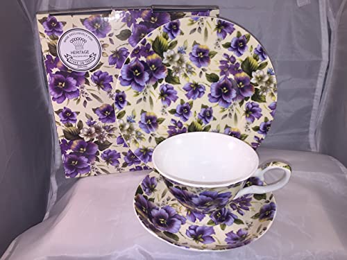 FINE BONE CHINA SUMMER PANSY CUPS/SAUCERS/PLATE AFTERNOON TEA SET GIFT BOXED UK & Aynsley Cottage Garden Windsor Tea Cup/Saucer and Plate Set Green ...
