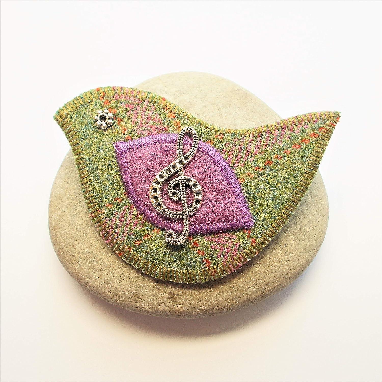 Tweed Bird Brooch with Treble Clef Motif