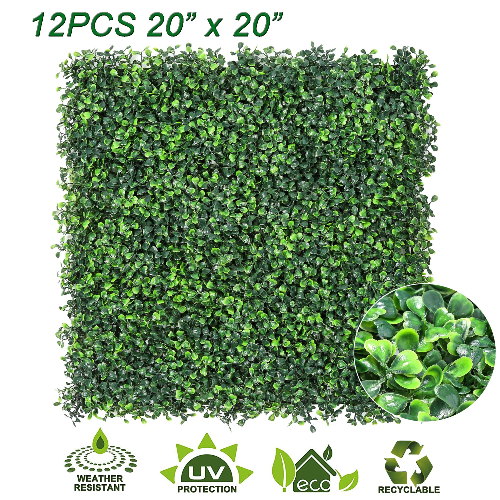 Sunnyglade 12PCS 20''x20'' Artificial Boxwood Panels Topiary Hedge Plant, Privacy Hedge Screen, UV Protected Faux Greenery Mats Suitable for Outdoor, Indoor, Garden, Fence, Backyard and Décor (12PCS)
