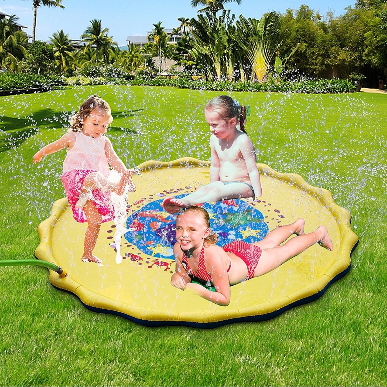 Jaeounr Splash Play Mat 67in-Diameter Perfect Inflatable Outdoor Sprinkler Pad Summer Fun Backyard Play for Infants Toddlers And Kids (67inches)