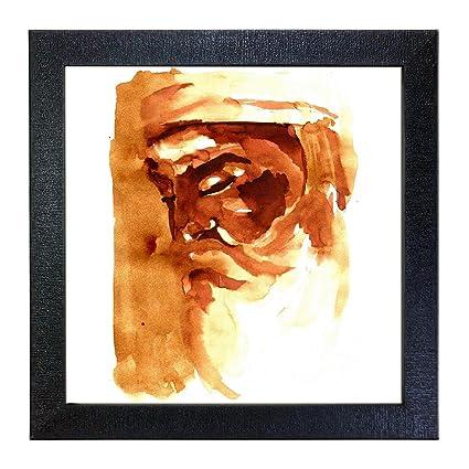 Sehaz Artworks Guru Nanak Dev Ji Wall Photo Painting (Vinyl, 30 cm x 30 cm x 3 cm, Black, SZA-Guru_Nanak_Dev_Ji_002)