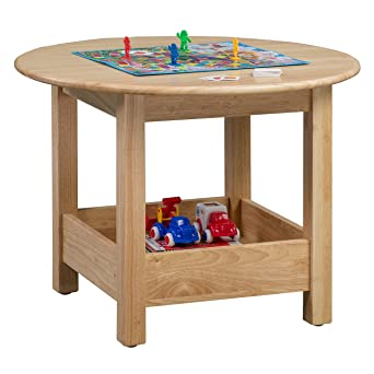 ECR4Kids Sit Nu0027 Stash Solid Hardwood 32u0026quot; Round Table With Storage For  Kids Playroom