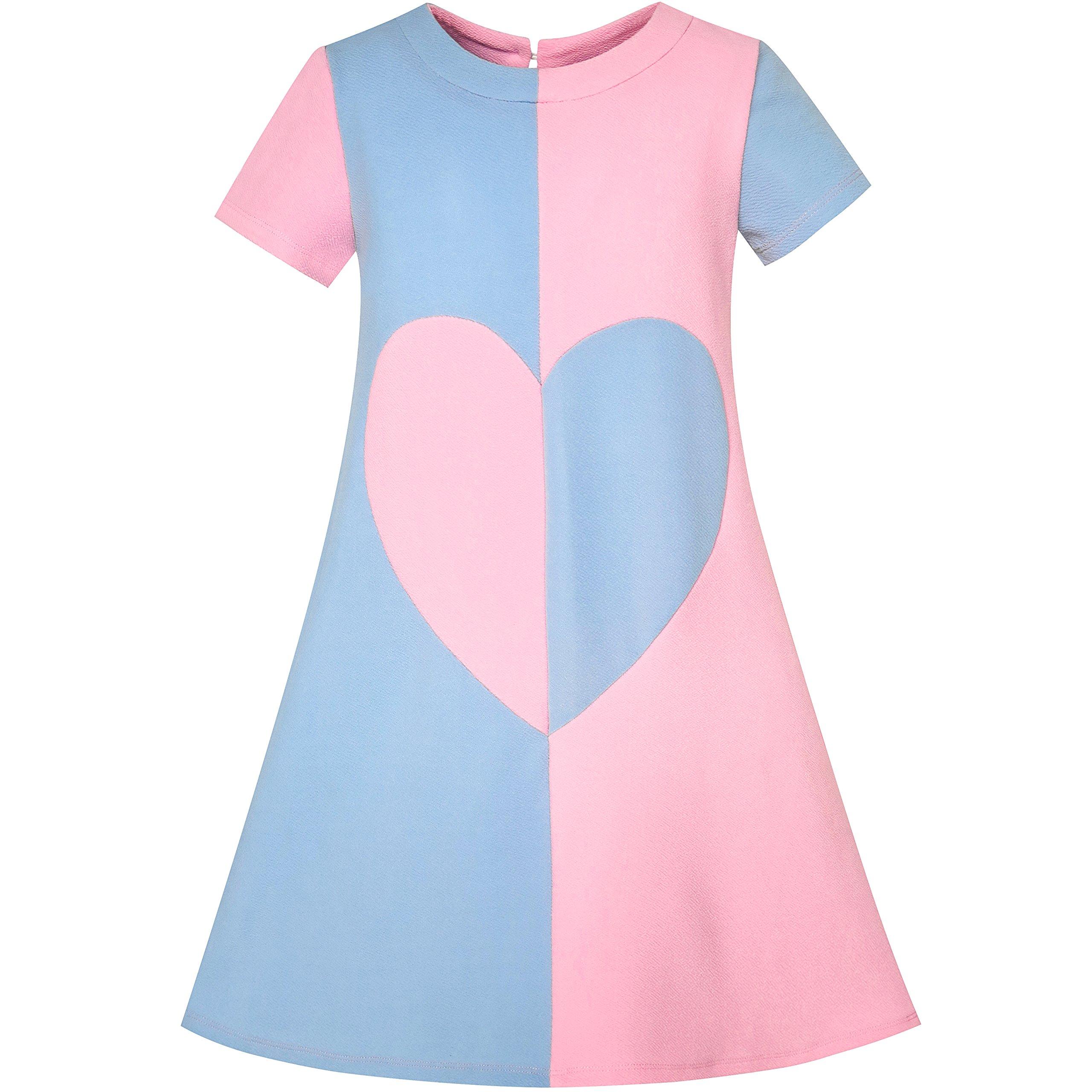 Sunny Fashion LE31 Girls Dress Blue Color Contrast Heart A-line Size 5
