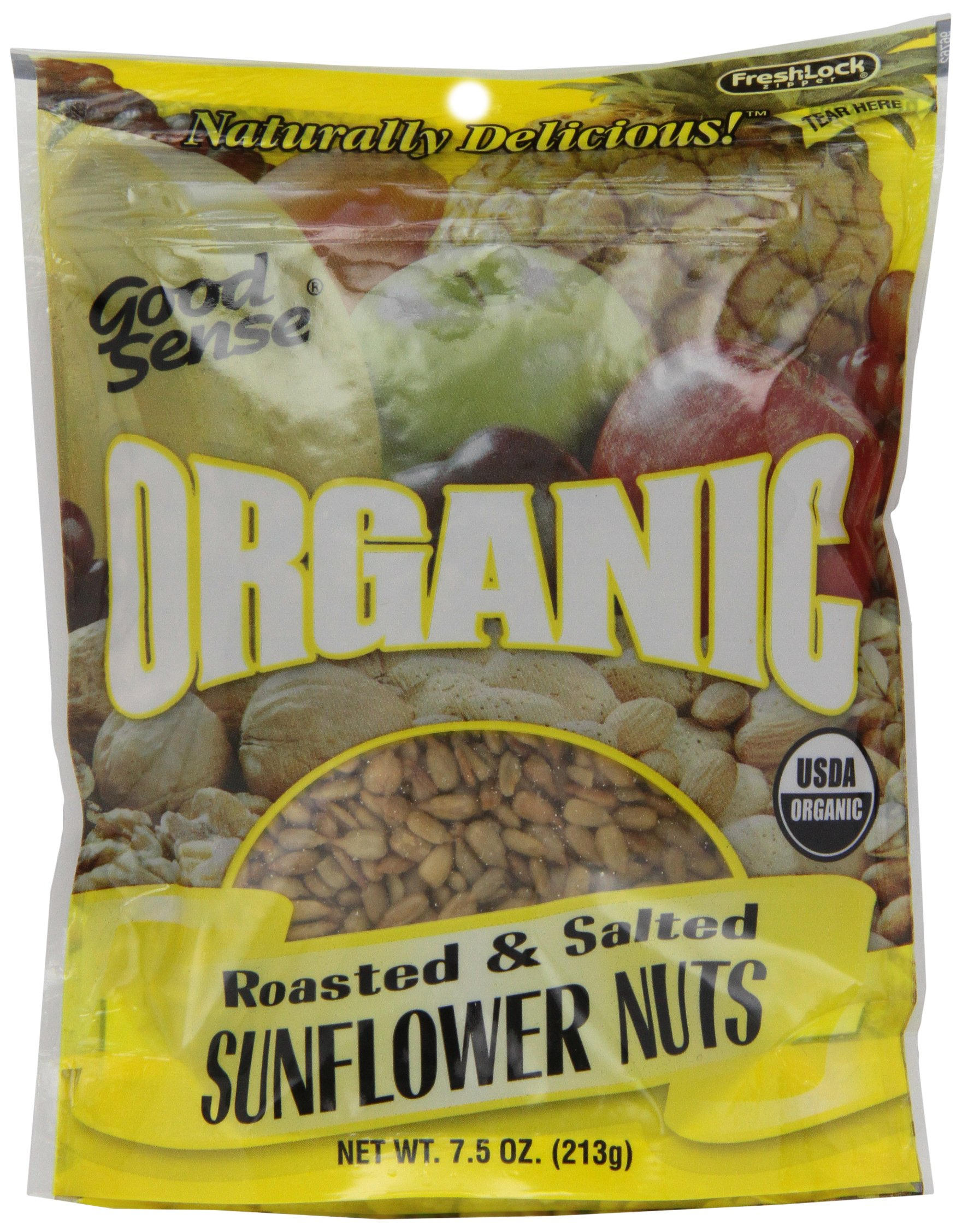 Good Sense Organic Sunflower Nuts, Roasted, Salted, 7.5-Ounce Bags (Pack of 12) by Good Sense