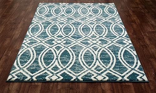 Art Carpet Highline Collection Ogee Trellis Woven Area Rug, 7 10 x 10 6 , Aqua Linen