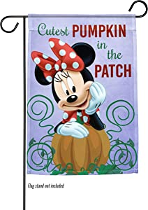 """The Galway Company Halloween, Disney, Minnie Mouse, Flag Cutest Pumpkin Minnie – Garden Flag – 12.5"""" x 18"""", Official Disney Licensed. Flag Stand Not Included."""